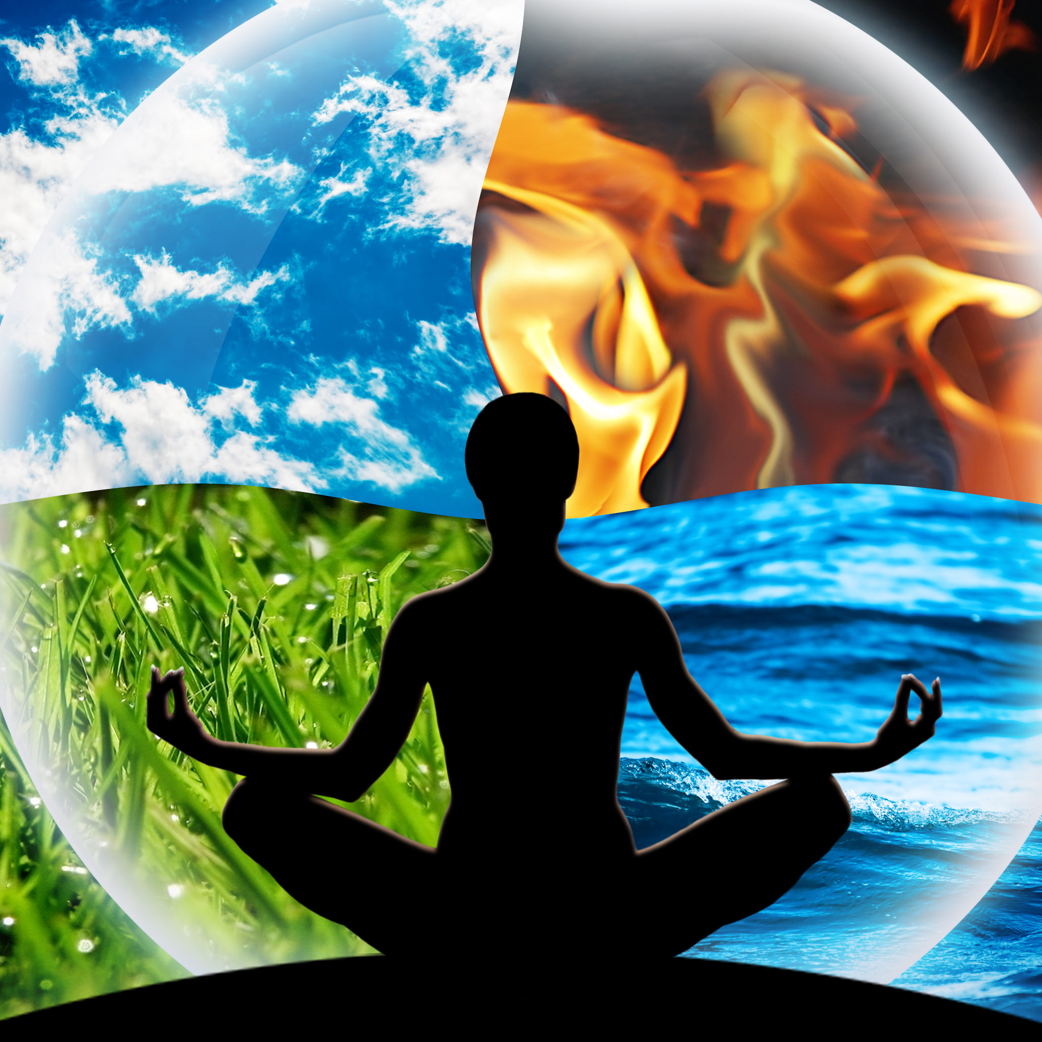 Ayurveda, yoga, four natural elements (water, fire, earth, air) balance with nature.